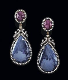 A diamond and sapphire ear pendants  silver 925, some gold-plating, octagonal diamonds, total weight ca. 2,50 ct, sapphires and rubies (some treated), total weight ca. 46 ct, 23,8 g, stones with natural fissure