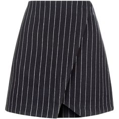 New Look Navy Pinstripe Wrap Front Mini Skirt (105 MYR) ❤ liked on Polyvore featuring skirts, mini skirts, navy, navy skirt, navy blue skirt, summer skirts, pinstripe skirts and short mini skirts