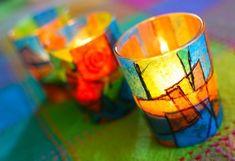DIY colorful votive holders