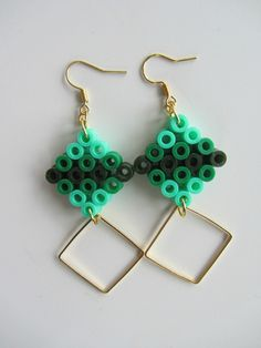 Earrings hama perler beads by Solama de Pacotille