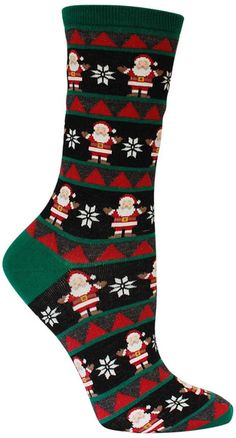 Crew length women's socks with Santa Claus in a fairisle pattern. Available in denim or black. Fits a women's shoe 5-10.