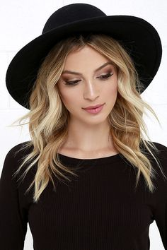 Women Hat Fashion Cap Vintage Hats Army Boonie Cap Winter Woolen Cap F – eeshoop Spring Hats, Summer Hats, Spring Summer, Black Hat Outfit, Black Hats, Black Wide Brim Hat, Hipster Hat, Round Hat, Oufits Casual