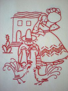 Redwork Roosters & Couple by xperimentl, via Flickr