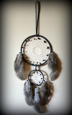 Large Gray Double Hoop Suede Dream Catcher by DreamySummerNights