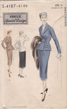 Double Breasted Suit Jacket Flap Pockets Notch Collar Pencil Skirt Vintage Sewing Pattern Vogue Special Design S-4187 1951 Fitting Measurements : Size 12 Bust 30 (76cm) Waist 24 (61cm) Hip 33 (84cm) Pattern Description : Two Piece Suit Fitted jacket, double breasted closing below notched collar. Simulated single or double flap pockets. Long sleeves, vent in back seam & button trim. Slim skirt to mid calf length with inset panels for back flare. Condition : The unprinted, factory ... Vogue Sewing Patterns, Vintage Sewing Patterns, Vintage Skirt, Fashion Plates, Suits For Women, Double Breasted, Suit Jacket, Vintage Fashion, 1950s Women