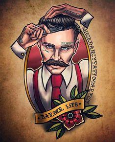 Barber Tattoo, Barber Logo, Barber Shop Pictures, Gentleman Tattoo, Desenhos Old School, Tatto Old, Tattoo Designs, Dark Circus, Pop Art Drawing
