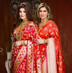 The ever radiant Dimple Kapadia & charming Twinkle Khanna draped by Kalpana Shah for Ranka Jewellers campaign shot by Dabboo Ratnani Photography
