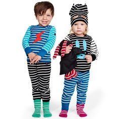 Love this! at Polarn O. Pyret UK & Ireland STRIPY HEROES #polarnopyretuk #qualitychildrensclothes #colourfulkidsclothes Benjamin and Mira are superheroes! Their long-sleeve Polarn O. Pyret-stripe tops have fun appliqué details. Their tops and trousers are all made of organic cotton. Mira's hat has upstanding ears sewn on and a turn-up with holes for her eyes. Poppy the bunny also has a superhero outfit, with a cape and mask – how cool is that?