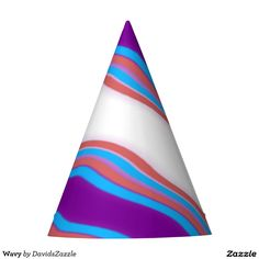 Wavy Pattern Party Hat Available on many more products! Check out the link and type in the name of this design in the search bar on my Zazzle Products page!  #wavy #wave #pattern #cool #hip #chic #contemporary #modern #style #life #lifestyle #red #blue #purple #stripes #line #ripple #nice #home #decor #apartment #dorm #student #college #den #living #bedroom #bathroom #buy #sale #zazzle #forsale #cone #hat #party #paper