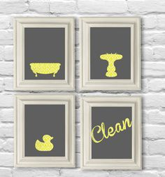Digital Download No. Bathroom Set in Yellow Damask and Gray on Etsy, $12.00