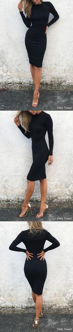 Black Round Neck Long Sleeve Midi Dress