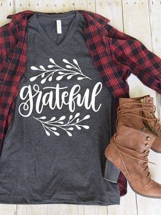"""Sew T-Shirt """"Grateful"""" Tee - StuffPlus Boutique - Screen Printed on High Quality Bella Canvas Heather and Tri-Blend Tees. Shirts are Unisex Sizing Vinyl Shirts, Mom Shirts, Cute Shirts, T Shirts For Women, Funny Shirts, Fall Outfits, Casual Outfits, Cute Outfits, Fashion Outfits"""