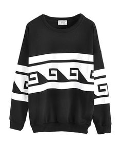 Sea Wave Geometry Print Sweatshirt
