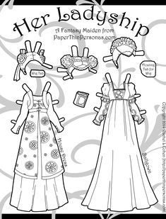 Wigs are certainly a theme of today's page for my Her Ladyship printable paper doll set. Also- paper doll ballgowns and house dresses. One more page after this set and then I'll post the whole 10 page PDF of the paper doll for anyone to print who might want it. … More Below! →