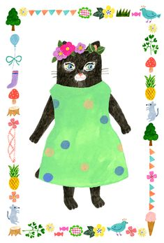 Cat by Japanese illustrator Aiko Fukawa Love Illustration, Character Illustration, Graphic Design Illustration, Cat Cards, Sketchbook Inspiration, Cat Drawing, Animal Paintings, Crazy Cats, Paper Dolls