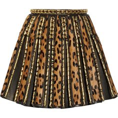 Embellished leopard-print calf hair and leather mini skirt (3.450.815 CLP) ❤ liked on Polyvore featuring skirts, mini skirts, bottoms, saias, balmain, leopard mini skirt, short mini skirts, brown skirt, short brown skirt and short skirts