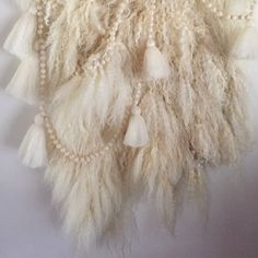 Wool felt detail with kid mohair. #wallhanging #wool #woolfelt #fiberart #textileart #feltpelt #lincolnlongwool #mohair #yarn by sonyayongjames