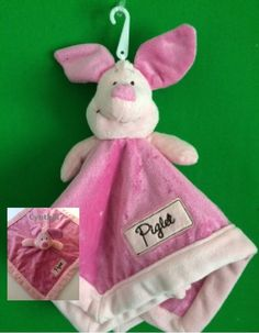 Disney Piglet Pink Lovey Blanky Security Blanket Crib toy Winnie the Pooh - Personalized by CACBaskets on Etsy