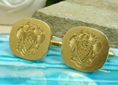 14k Yellow Gold Toggle Back Cufflinks; Heraldic Engravings; Marked Tiffany!! #MarkedTiffanyCo