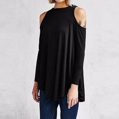 Loose Fitting Cold Shoulder Tunic Top. Blouses For WomenShirt ... 9a40c8064e33