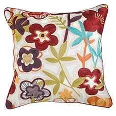 Bright Floral Chainstitch Pillow