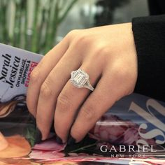 Gabriel & Co.-Voted #1 Most Preferred Fine Jewelry and Bridal Brand. 14k White / Rose Gold Emerald Cut Double Halo Engagement Ring