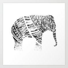 Endangered elephant - whiteout Art Print by Farnell - $17.68