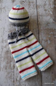 Newborn Knit Pants Hat Set Baby Knitted Cap by LittleBirdLucy, $45.99
