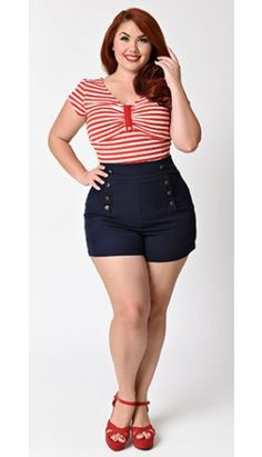 273e1e16d2467 Plus Size Retro Style Indigo Blue High Waisted Stretch Sailor Shorts ...