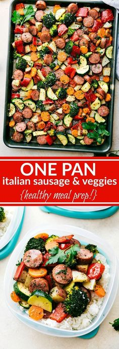ONE PAN Healthy Italian Sausage & Veggies! Easy and delicious! Great MEAL PREP OPTION!
