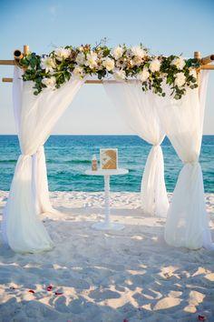 Beach Weddings in Gulf Shores, Orange Beach and Pensacola Beach - - Beach Weddings in Gulf Shores, Orange Beach and Pensacola Beach Boho Wedding. Beach Wedding Centerpieces, Beach Wedding Reception, Beach Wedding Hair, Beach Ceremony, Boho Wedding, Destination Wedding, Dream Wedding, Wedding Pergola, Beach Weddings