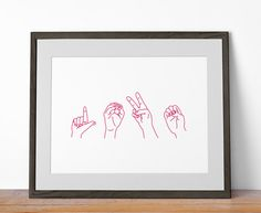 Love Sign Language Print - Great for Nurseries and as Wedding Decor - Digital / Printable / DIY. $5.00, via Etsy.