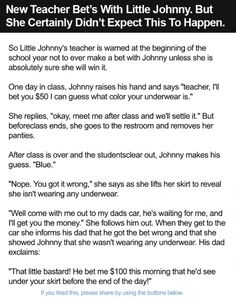 New Teacher Bet's With Little Johnny. But She Certainly Didn't Expect This To Happen.
