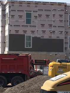 """""""Its is exciting to see the building coming together. Siding is going up! Dump Trucks, Construction, Live, Building, Dump Trailers, Buildings, Garbage Truck"""