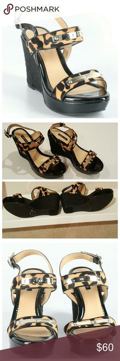 382fe447a7b ALEX MARIE Black Wedges Animal Print Straps 7 Black Wedges by Alex Marie.  Size Ankle and toe straps with Leopard Print pattern.