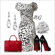 A fashion look from July 2012 featuring animal dress, black heeled shoes and red leather purse. Browse and shop related looks. Work Fashion, Fashion Outfits, Womens Fashion, Fashion Fashion, Style Work, My Style, Classy Outfits, Cute Outfits, Moda Retro