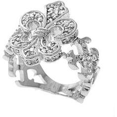 Sterling Silver Cubic Zirconia Fleur de Lis Ring  $54.49