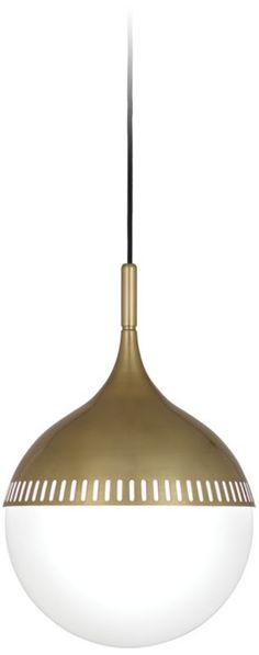 Rio Brass with White Shade Robert Abbey Pendant Light -