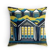 Beach Huts, Bournemouth -  Teal & Mustard by Cecca-Designs