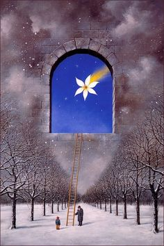 Possibilities are steps away. Dipinto di Rafal Olbinski