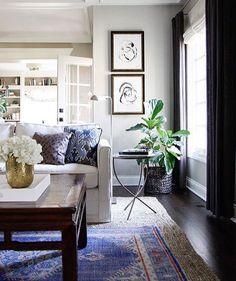 rug, dark curtains