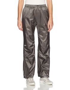 Outdoor Research Women's Helium Pants, Pewter, X-Large. Pertex Shield + 2.5 L, 100% nylon, 30D ripstop body. Waterproof, Breathable, Fully Seam-Taped, Laminated Construction, Windproof, Lightweight. Back Pocket Doubles as Stuff Sack, Reflective Logos, Carabiner Loop, Internal Loops for Instep Lace. Elastic Waist with Drawcord, Gusseted Crotch, Ankle Zippers, Accepts Accessory Suspenders.