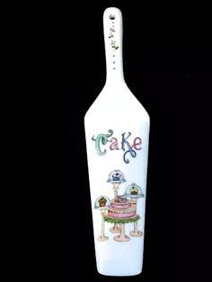 Pala De Torta De Porcelana Pintada A Mano - $ 98,00