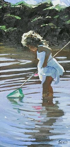 Sherree valentine Daines Adventure in the Shallows Turtle Painting, Figure Painting, Painting & Drawing, Beach Kids, Beach Art, Watercolor Sketch, Watercolor Paintings, Watercolors, Art Plage
