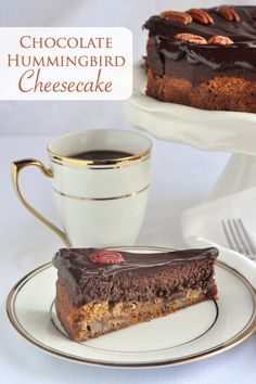 Chocolate Hummingbird Cheesecake a decadent chocolate cheesecake is baked directly on top of a banana pecan cake base; all in the same pan at the same time!
