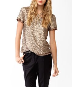Sequined Boxy Top | FOREVER21 - 2030187327 | Color: Bronze | $29.80 | Size: M