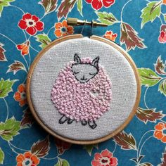embroidery kit // Paloma the pink sheep hand by dioramatist