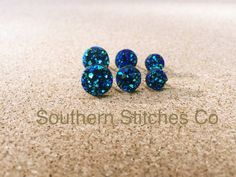 Brilliant Blue Earrings Druzy Stud Earrings by SouthernStitchesCo
