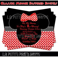 Classic Minnie Mouse Inspired Invitation by LaPetitePartyShoppe.
