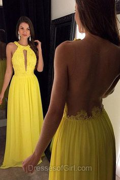 Yellow Prom Dresses, Sexy Prom Dress, Daffodil Evening Dresses, Open Back Party Dresses, Aline Formal Dresses